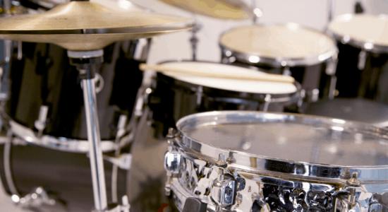 close up of a drum set