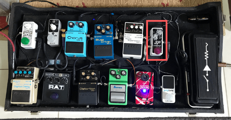 Pedal board with compressor pedal