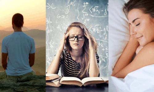 man meditating, woman concentrating, woman sleeping