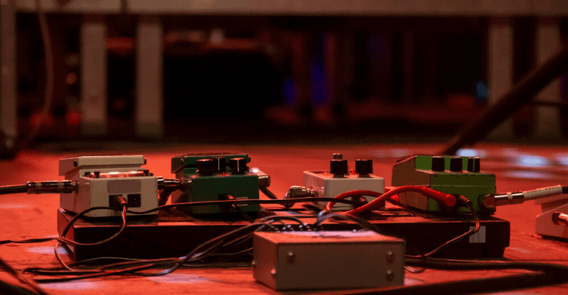 pedals on stage