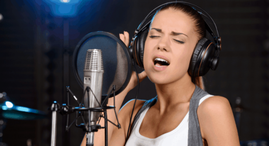 Female singer in studio