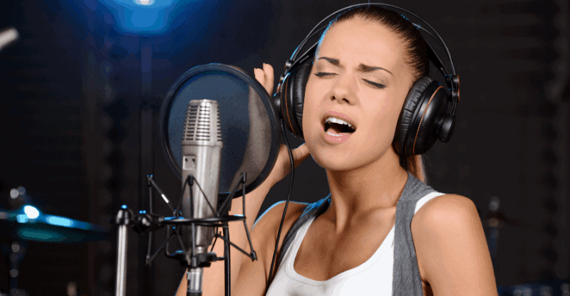 Female singer in studio