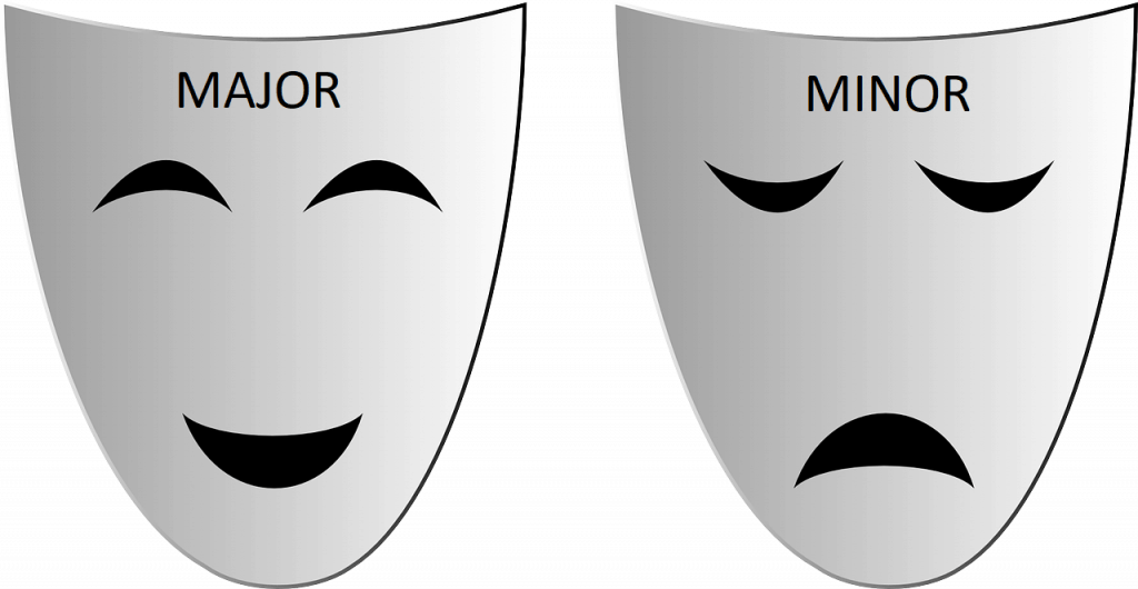 PICTURE OF HAPPY MAJOR MASK AND SAD MINOR MASK