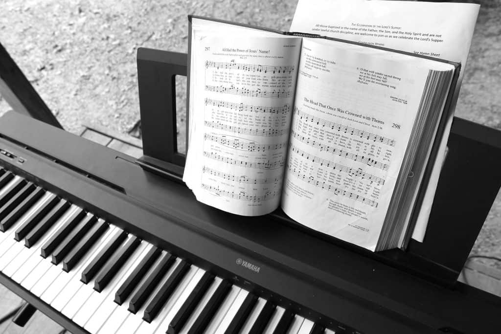 picture of hymn book on keyboard