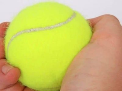 squeezing a ball