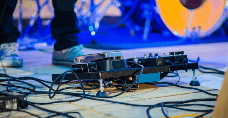 guitar pedals on stage