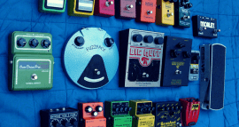 picture of guitar pedal collection