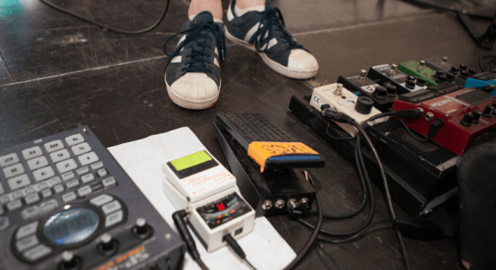 pedals on a stage