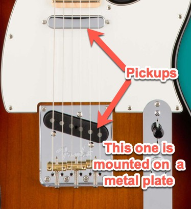 tele pickup mounted on metal plate 2.