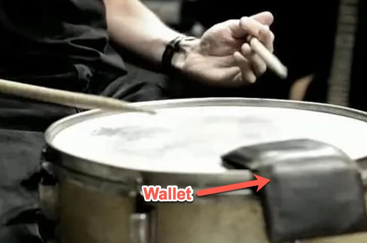 wallet on snare drum