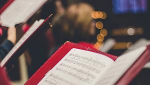 close up red sheet music