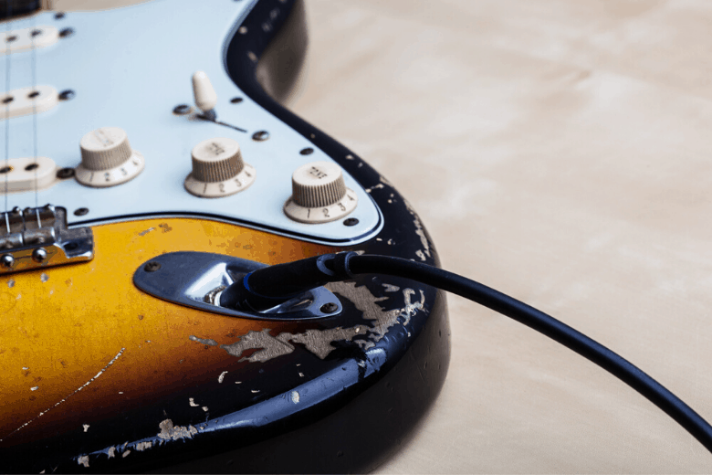 Beaten up guitar