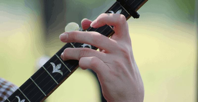 Close up of a banjo chord