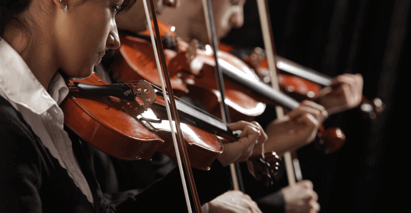 Violinists playing concert