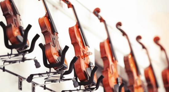 Violins in a music shop