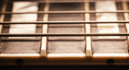 close up of fret wires