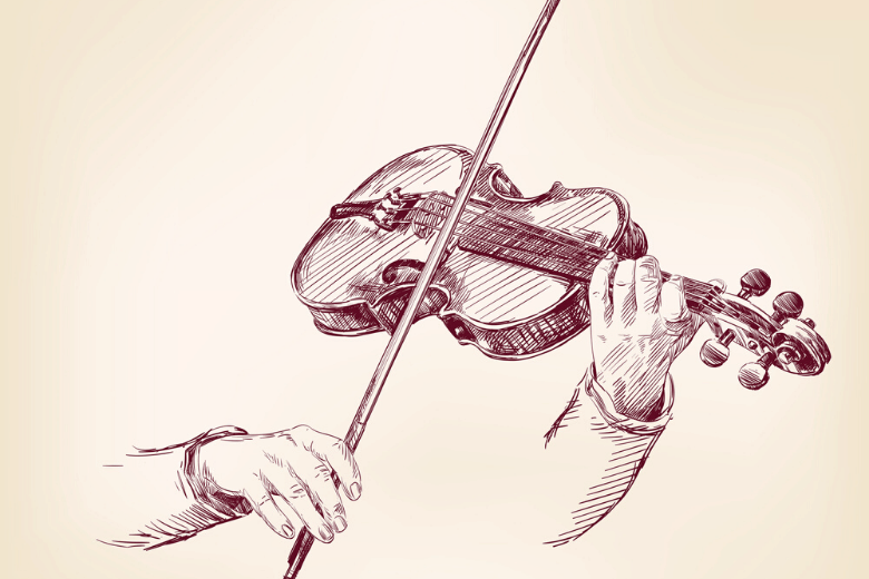 illustration playing violin