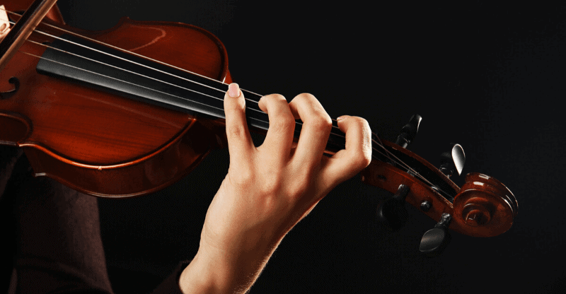violin left hand close up