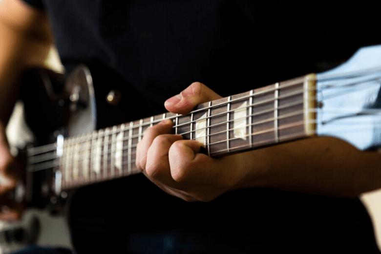 dark wood guitar fretboard