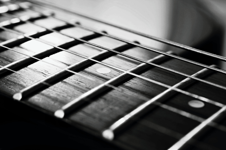 guitar fretboard close up