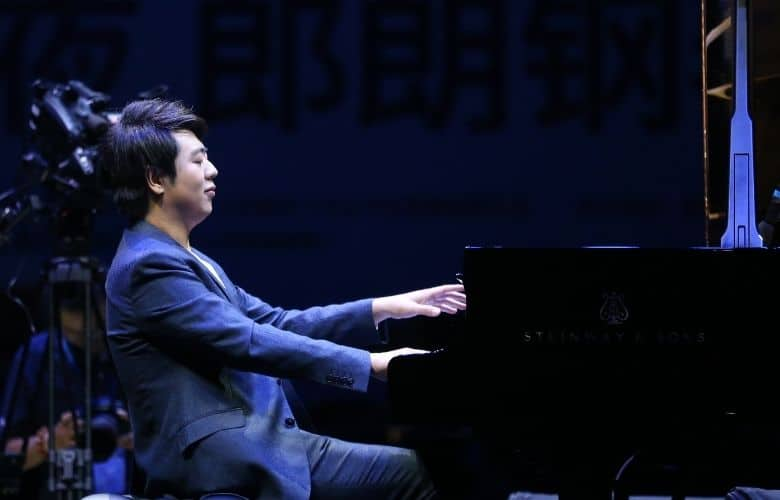 Chinese pianist Lang Lang performing at a music concert