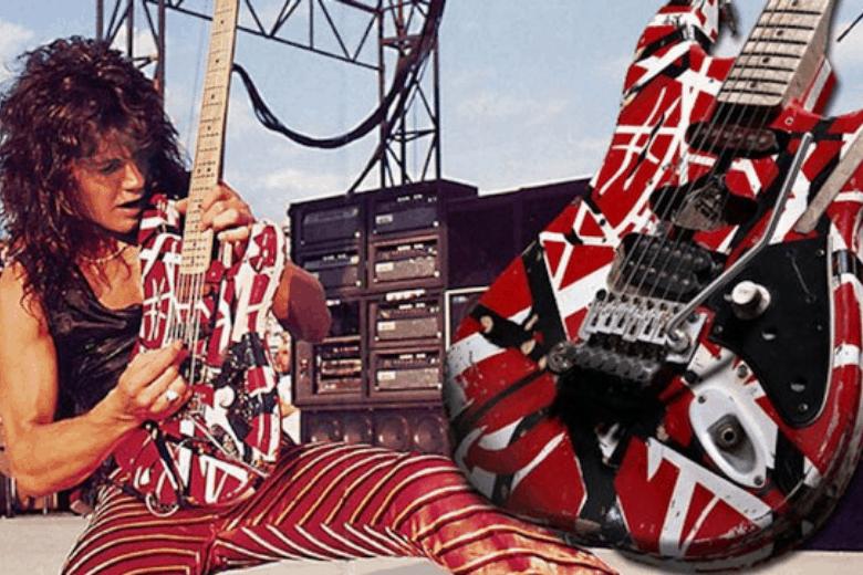 Eddie Van Halens Frankenstrat guitar with angled humbucker pickups