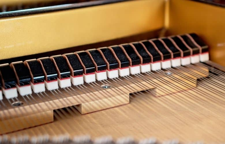 Hammers and strings in a grand piano