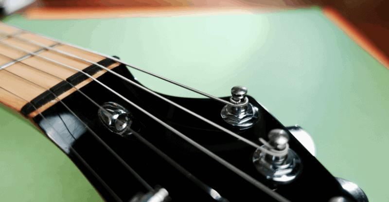 close up of a guitar truss rod