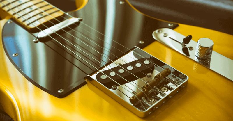 close up of a telecaster guitar