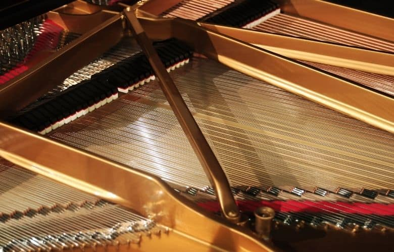 interior of a grand piano showing strings