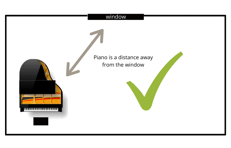 piano positioned away from window is good