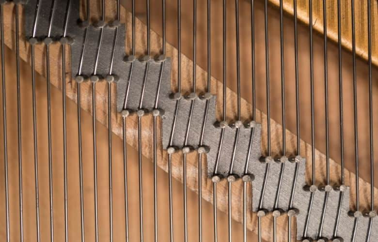 piano strings with soundboard