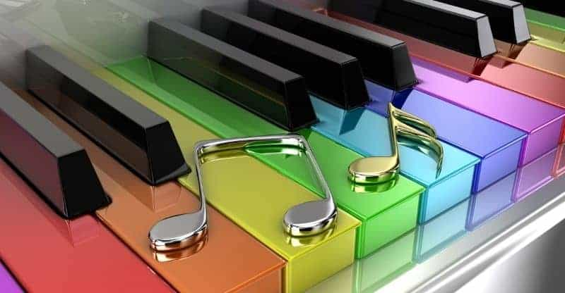 rainbow piano notes