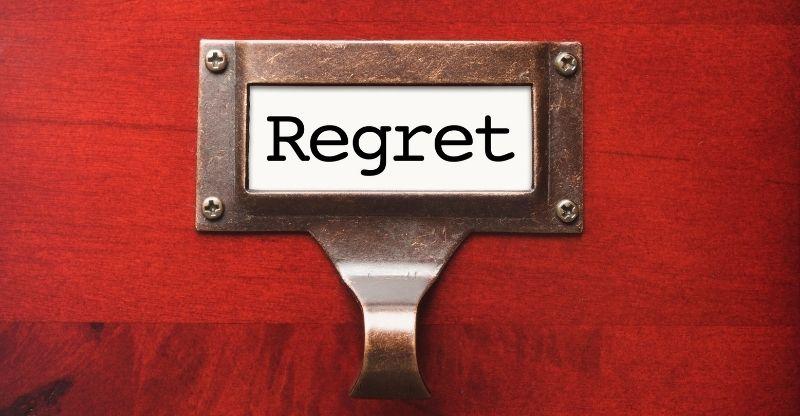 regret label on filing cabinet