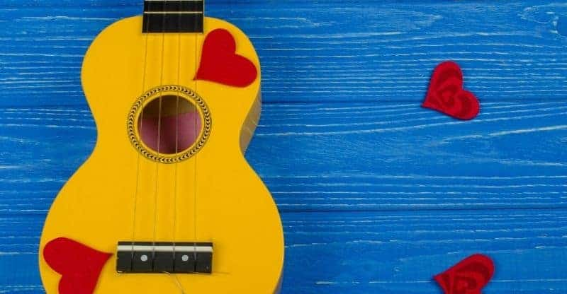 ukulele and love hearts