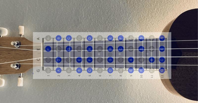 ukulele fretboard notes with chart