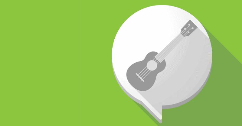 ukulele in speech bubbles