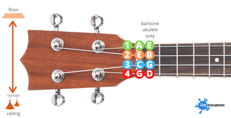 ukulele string notes including baritone