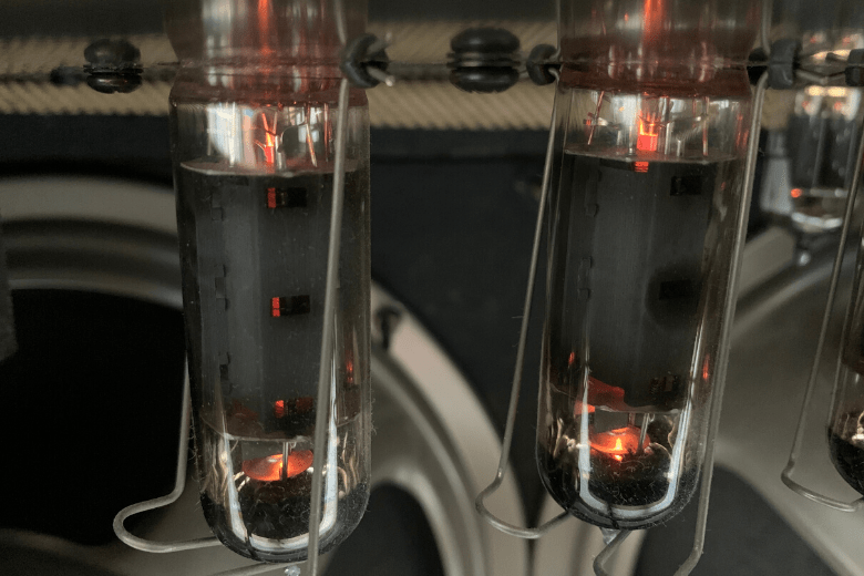 valves in a tube amp close up