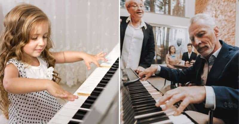 young girl and elderly man playing piano